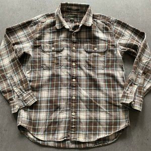 Eddie Bauer flannel Shirt Top Button Front Mens L
